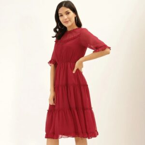 Women Red Solid Tiered Dress