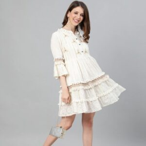 Women Off-White Self Design Cotton Fit and Flare Dress
