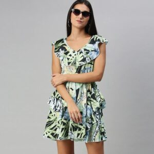 Women Green Tropical Printed with Ruffles Jumpsuit
