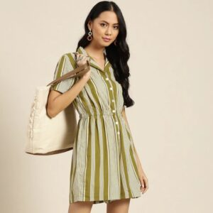 Olive Green & White Cotton Striped Playsuit